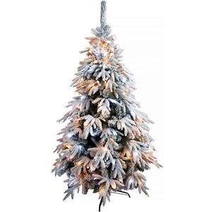 Елка искусственная CRYSTAL TREES Маттерхорн заснеженная с вплетенной гирляндой 150м.