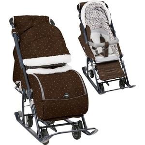 Санки коляски Nika Ника детям 7-1Б (В Горошек Шоколадный) НД7-1Б/3 все цены