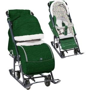 Санки коляски Nika Ника детям 7-1Б (Вязаный Зеленый) НД7-1Б/4 все цены