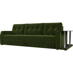 Диван-еврокнижка АртМебель Атлант микровельвет зеленый стол с правой стороны