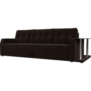 Диван-еврокнижка АртМебель Атлант микровельвет коричневый стол с правой стороны