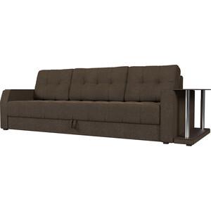Диван-еврокнижка АртМебель Атлант рогожка коричневый стол с правой стороны