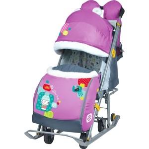 Санки коляски Ника детям 7-6 (Со Снеговиком Орхидея)