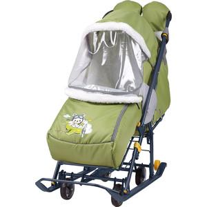 Санки коляски Nika Наши детки 2 (С Летчиком Оливковый)