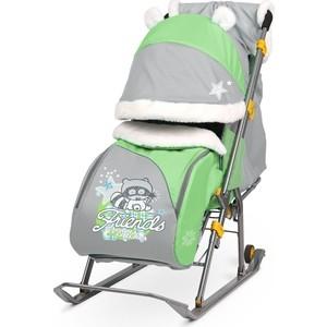 Санки коляски Ника детям 6 (енот Зеленый/серый) ника санки дет nikki 2 з зеленый