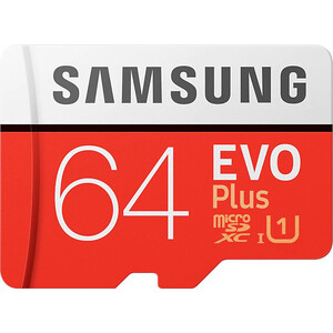 Карта памяти Samsung 64Gb EVO Plus v2 MicroSDXC Class 10 UHS-I U3, SD adapter (MB-MC64GA/RU)