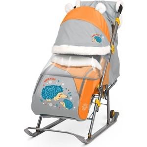 Санки коляски Nika детям 6 (С Ёжиком Оранжевый/Серый)