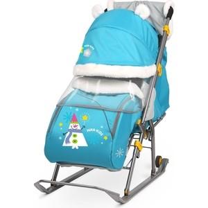 Санки коляски Nika детям 6 (Со Снеговиком Бирюзовый)