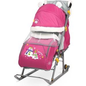 Санки коляски Ника детям 6 (Со Снеговиком Розовый)