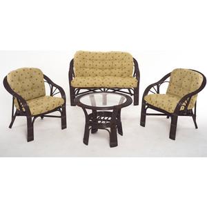 Комплект для отдыха Vinotti 01/90 темный коньяк желтые подушки