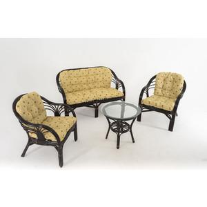 Комплект для отдыха Vinotti 01/91 темный коньяк желтые подушки