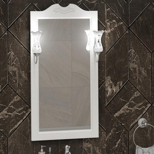 Зеркало Opadiris Клио 50 с светильниками, белый матовый 9003 (00-00000211 + Z0000006243)