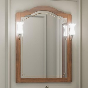 Зеркало Opadiris Лоренцо 80 с светильниками, светлый орех Р10 (Z0000006756 + 00000001041) фото