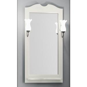Зеркало с полкой Opadiris Тибет 50 с светильниками, слоновая кость 1013 (Z0000007087 + 00000001041) зеркало с полкой opadiris тибет 70 для светильников 00000001041 слоновая кость 1013 z0000006628