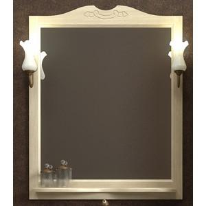 Зеркало с полкой Opadiris Тибет 80 с светильниками, слоновая кость 1013 (Z0000006653 + 00000001041) зеркало с полкой opadiris тибет 70 для светильников 00000001041 слоновая кость 1013 z0000006628
