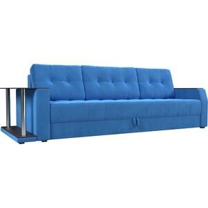 Диван-еврокнижка АртМебель Атлант велюр синий стол с левой стороны