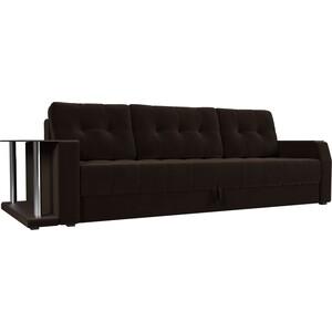 Диван-еврокнижка АртМебель Атлант микровельвет коричневый стол с левой стороны