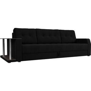 Диван-еврокнижка АртМебель Атлант микровельвет черный стол с левой стороны