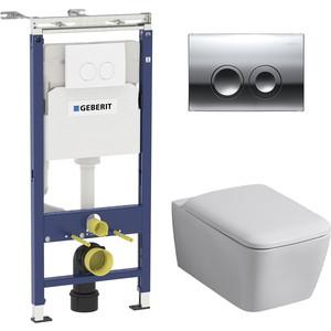 Комплект Geberit iCon Square Rimfree, унитаз с сиденьем микролифт, инсталляция, кнопка (458.122.21.1-20195)