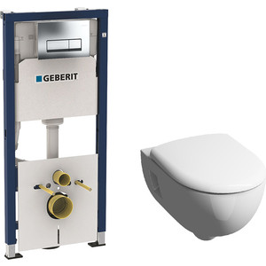 Комплект Geberit Duofix Renova Rimfree, унитаз с сиденьем микролифт, инсталляция, кнопка (458.128.21.1-20307)