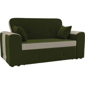 Прямой диван Лига Диванов Форте микровельвет зеленый/бежевый