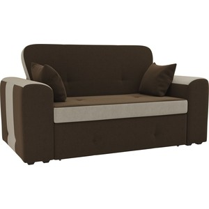Прямой диван Лига Диванов Форте микровельвет коричневый/бежевый
