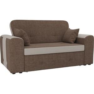 Прямой диван Лига Диванов Форте рогожка коричневы/бежевый