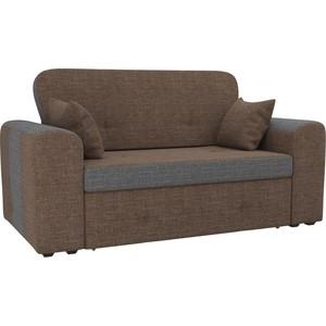 Прямой диван Лига Диванов Форте рогожка коричневый/серый