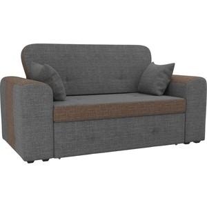 Прямой диван Лига Диванов Форте рогожка серый/коричневый