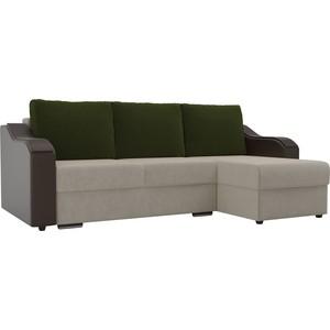 Угловой диван Лига Диванов Монако микровельвет бежевый подлокотники экокожа коричневые подушки зеленый правый угол