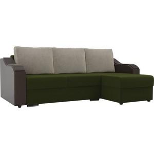 Угловой диван Лига Диванов Монако микровельвет зеленый подлокотники экокожа коричневые подушки бежевый правый угол