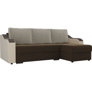 Угловой диван Лига Диванов Монако микровельвет коричневый подлокотники экокожа бежевые подушки бежевый правый угол