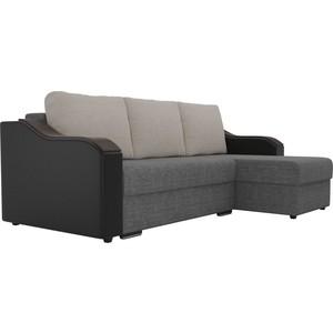 Угловой диван Лига Диванов Монако рогожка серый подокотники экокожа черные подушки рогожка бежевый правый угол фото