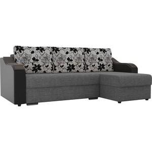 Угловой диван Лига Диванов Монако рогожка серый подокотники экокожа черные подушки рогожка на флоке правый угол фото