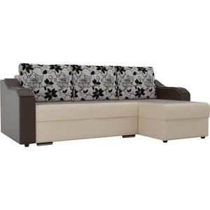 Угловой диван Лига Диванов Монако экокожа бежевый подлокотники коричневые подушки рогожка на флоке правый угол