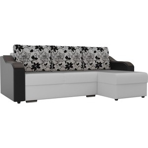 Угловой диван Лига Диванов Монако экокожа белый подлокотники черные подушки рогожка на флоке правый угол