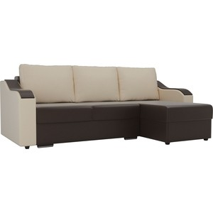 Угловой диван Лига Диванов Монако экокожа коричневый подлокотники бежевые подушки правый угол