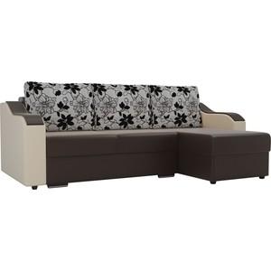 Угловой диван Лига Диванов Монако экокожа коричневый подлокотники бежевые подушки рогожка на флоке правый угол