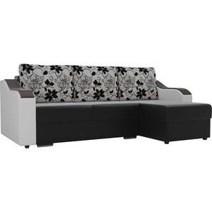 Угловой диван Лига Диванов Монако экокожа черный подлокотники белые подушки рогожка на флоке правый угол