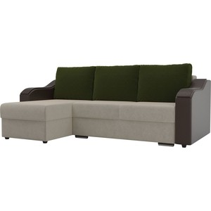 Угловой диван Лига Диванов Монако микровельвет бежевый подлокотники экокожа коричневые подушки зеленый левый угол