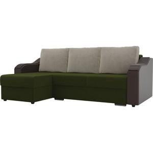 Угловой диван Лига Диванов Монако микровельвет зеленый подлокотники экокожа коричневые подушки бежевый левый угол