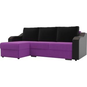 Угловой диван Лига Диванов Монако микровельвет фиолетовый подлокотники экокожа черные подушки черный левый угол