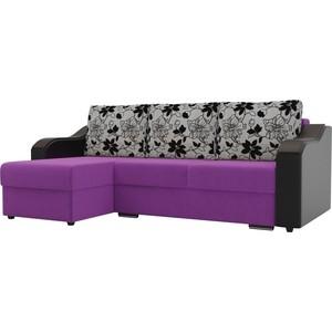 Угловой диван Лига Диванов Монако микровельвет фиолетовый подлокотники экокожа черные подушки рогожка на флоке левый угол фото