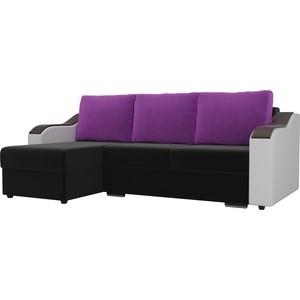 Угловой диван Лига Диванов Монако микровельвет черный подлокотники экокожа белые подушки фиолетовый левый угол