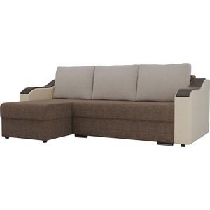 Угловой диван Лига Диванов Монако рогожка коричневый подлокотники экокожа бежевые подушки бежевый левый угол