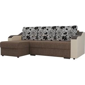 Угловой диван Лига Диванов Монако рогожка коричневый подлокотники экокожа бежевые подушки рогожка на флоке левый угол фото
