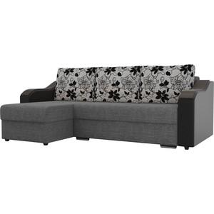 Угловой диван Лига Диванов Монако рогожка серый подокотники экокожа черные подушки рогожка на флоке левый угол фото
