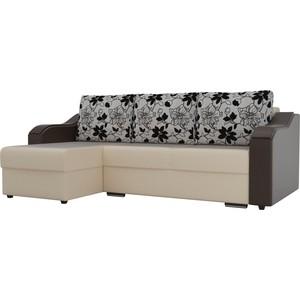 Угловой диван Лига Диванов Монако экокожа бежевый подлокотники коричневые подушки рогожка на флоке левый угол цена