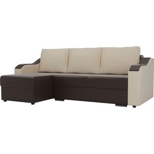 Угловой диван Лига Диванов Монако экокожа коричневый подлокотники бежевые подушки левый угол