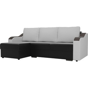 Угловой диван Лига Диванов Монако экокожа черный подлокотники белые подушки левый угол